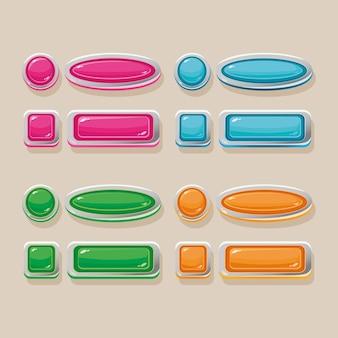 Botones vectoriales de diferentes colores para el diseño de la interfaz del juego.