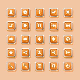Botones vectoriales con iconos para el diseño de la interfaz del juego.