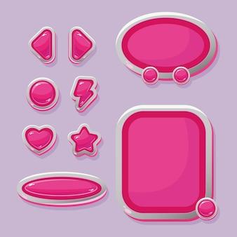 Botones vectoriales y ventanas de navegación para el diseño de la interfaz del juego.