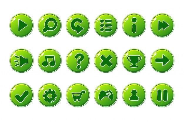 Botones verdes para la interfaz de usuario del juego