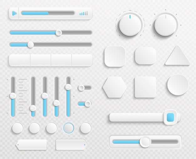 Botones web blancos y controles deslizantes de la interfaz de usuario conjunto aislado sobre fondo transparente