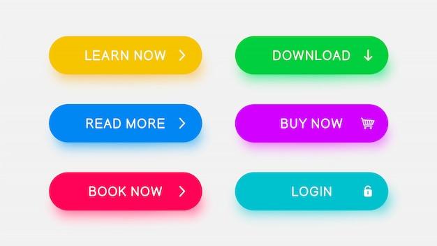 Botones web monocromáticos brillantes de color amarillo, azul, rojo, verde, morado y azul brillante