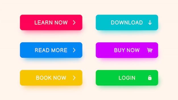 Botones web monocromos en color rojo, azul, amarillo, morado y verde.