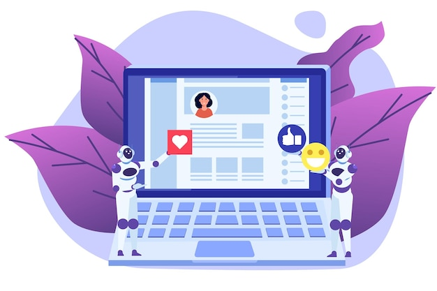 Bots de redes sociales método de automatización de concepto de cuentas falsas para ganar seguidores