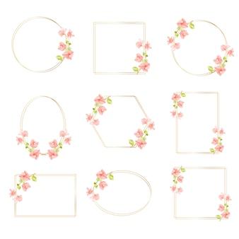 Bougainvillea rosa acuarela con colección de marco de corona dorada con espacio de copia