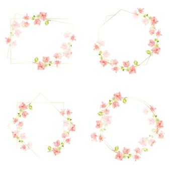 Bougainvillea rosa acuarela con colección de marco de corona dorada