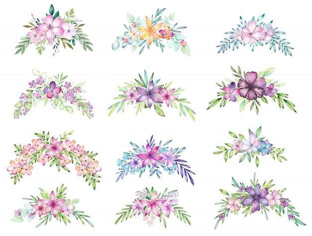 Bouquet floral acuarela conjunto