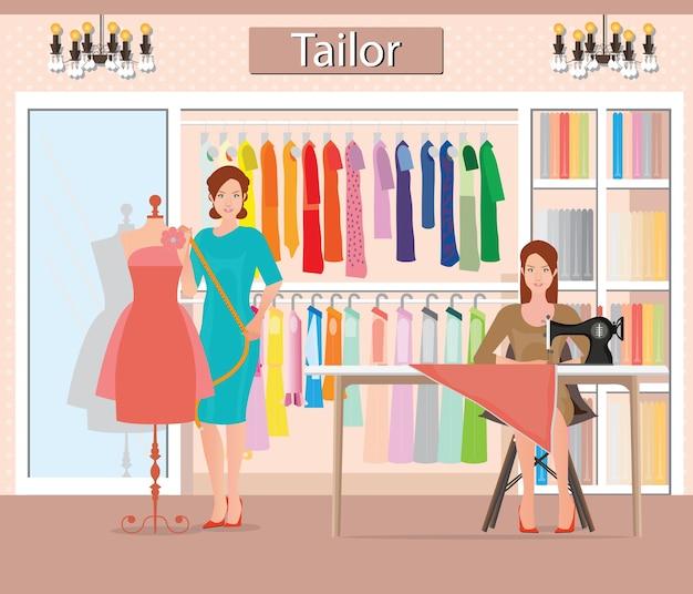 Boutique interior de moda de paños de mujer