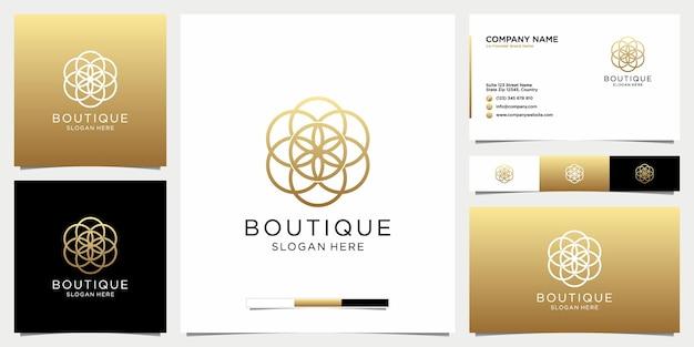 Boutique minimalista diseño de logotipo floral simple y elegante con plantilla de tarjeta de visita