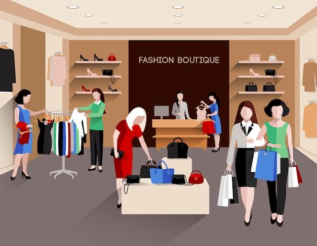 Boutique de moda con mujeres jóvenes consumidoras y ropa de moda plana.