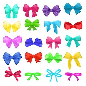Bow bowknot o cinta de dibujos animados para decorar regalos en navidad o fiesta de cumpleaños ilustración conjunto de elementos arqueados o con cinta presenta en celebración de fiestas aislado sobre fondo blanco