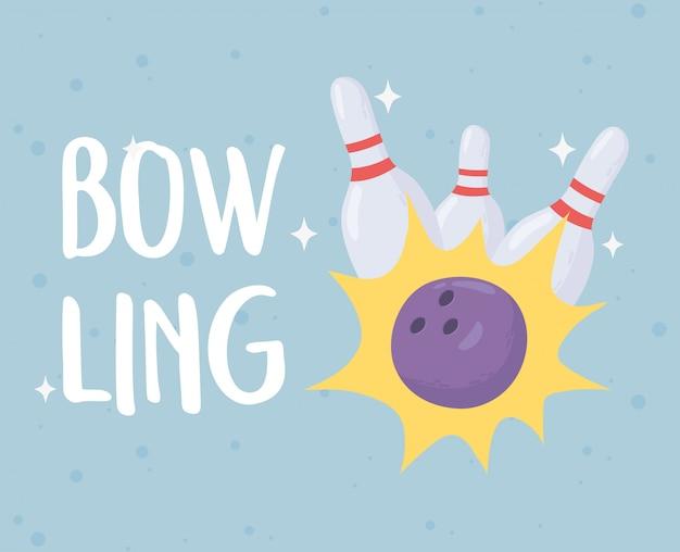 Bowling crash ball and pins juego deporte recreativo diseño plano ilustración vectorial