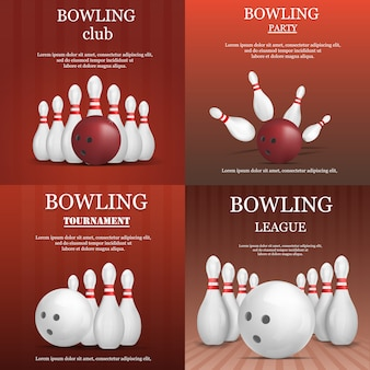 Bowling kegling banner concepto conjunto