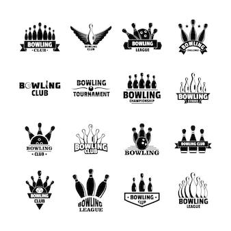 Bowling kegling juego logo conjunto