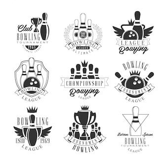 Bowling league tournament plantillas de diseño de carteles en blanco y negro con texto y herramientas siluetas
