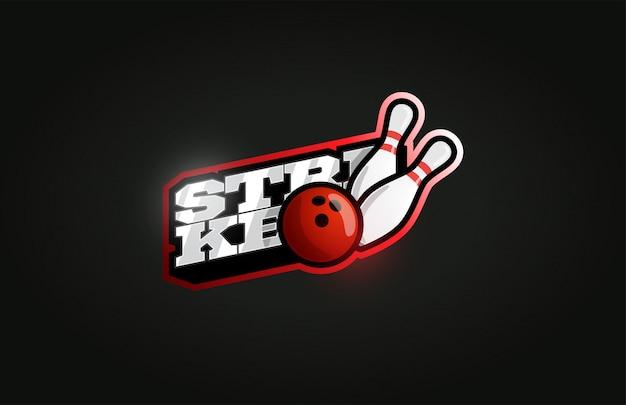 Bowling strike logotipo moderno de deporte profesional en estilo retro