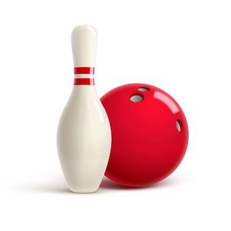 Bowling tema realista editable vector sobre fondo blanco