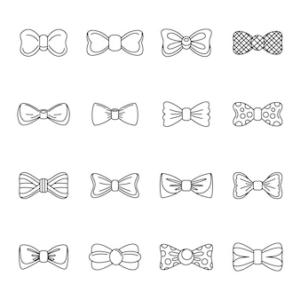 Bowtie ribbon man esmoquin iconos conjunto