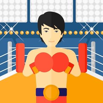 Boxeador confiado en guantes