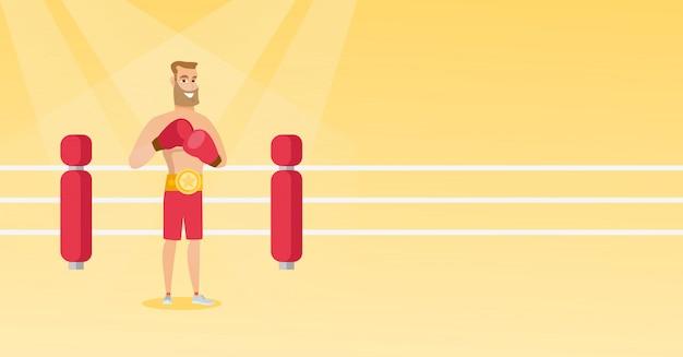 Boxeador confidente caucásico joven en el anillo.