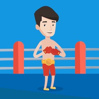 Boxeador confidente en la ilustración de vector de anillo.