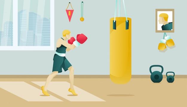 Boxeador de dibujos animados con guantes de boxeo trenes en el gimnasio