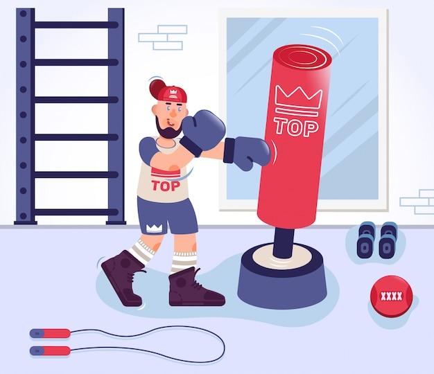 Boxeador entrenando en el gimnasio