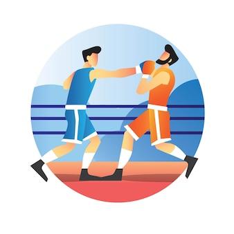 Boxeador golpeando a su oponente de competencia