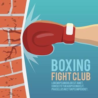Boxeador guantes golpear ladrillo pared dibujos animados boxeo lucha club cartel ilustración vectorial