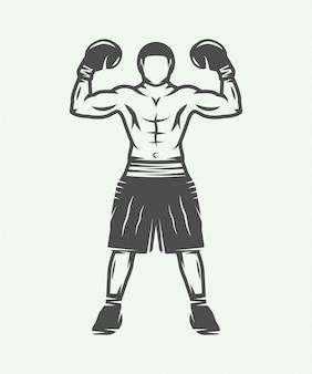 Boxeador retro vintage