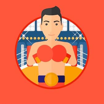Boxeador seguro en guantes.