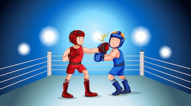 Boxeadores peleando en el ring de boxeo