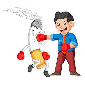 Boxeo de negocios con un cigarrillo