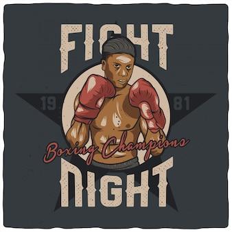 Boxer con guantes de boxeo