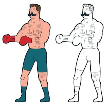 Boxer en guantes de dibujos animados tradicional.