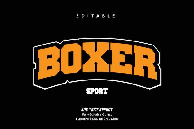 Boxer sport emblem efecto de texto