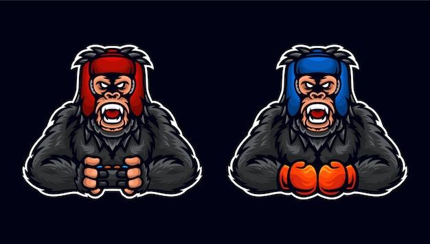 Boxing gaming king kong sport y esport logo plantilla