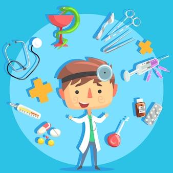 Boy doctor, kids future dream ilustración de ocupación profesional con objetos relacionados con la profesión