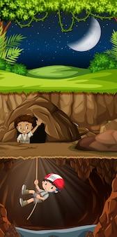 Boy scout explorando la cueva