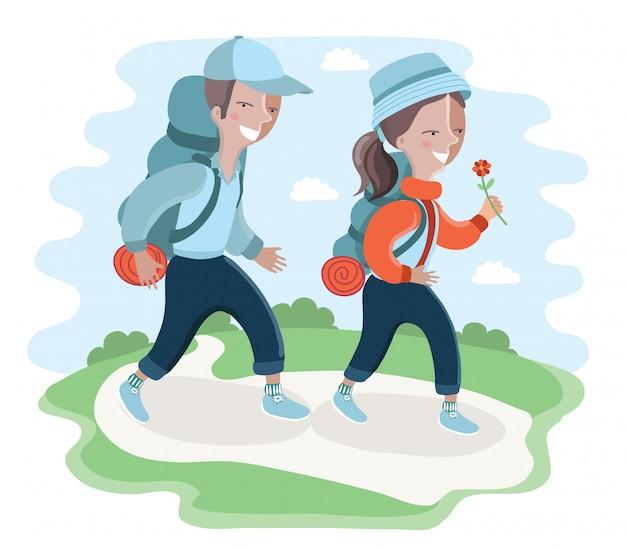 Boy scouts. personaje de dibujos animados divertido. ilustración. sobre fondo blanco