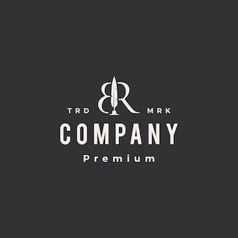 Br letra marca pluma pluma hipster vintage logo plantilla