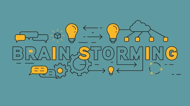 Brain storming diseño de línea plana
