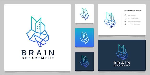 Brain tech building diseño de logotipo de estilo de contorno de línea de gran altura con tarjeta de visita