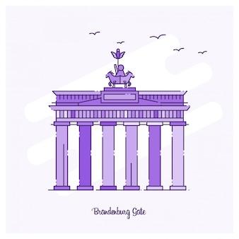 Brandenburg gate landmark línea de puntos en el horizonte de color púrpura