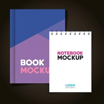 Branding de identidad corporativa, con cuaderno y libro