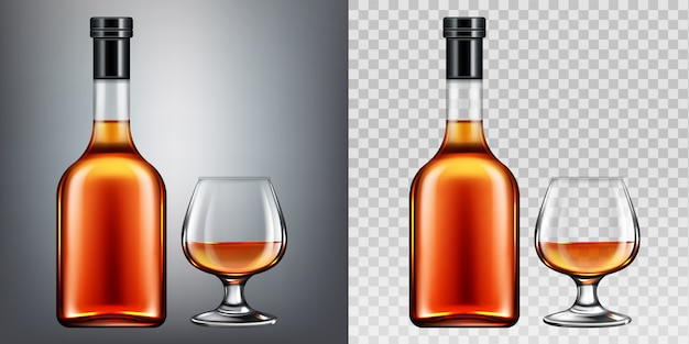 Brandy botella y vaso