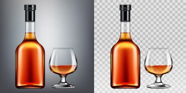 Brandy botella y vaso