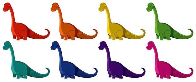 Braquiosaurios en ocho colores diferentes.