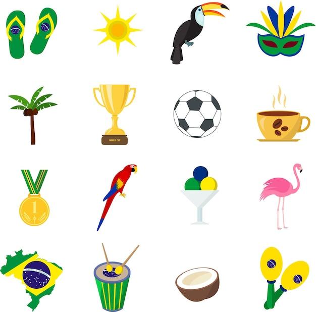 Brasil. verano. conjunto de iconos planos. dibujos animados y estilo plano. ilustración vectorial.