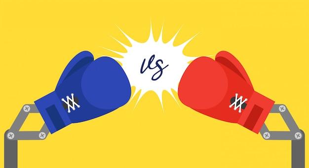 Brazo de guantes de boxeo de juguete azul y rojo